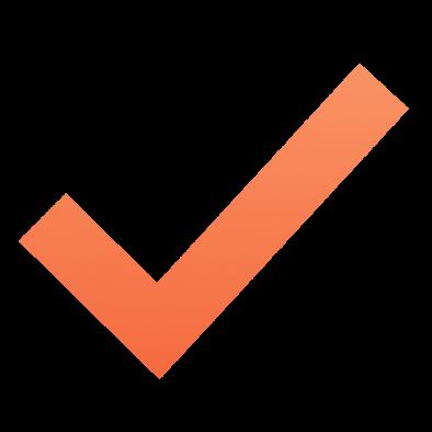 Orange checkmark with gradient