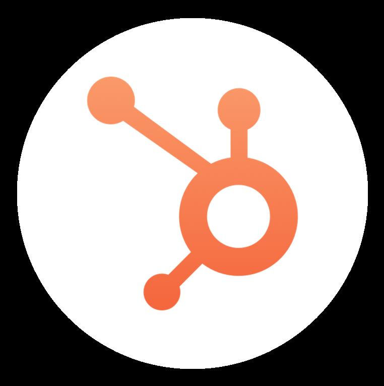 Orange hubspot icon with white circle image