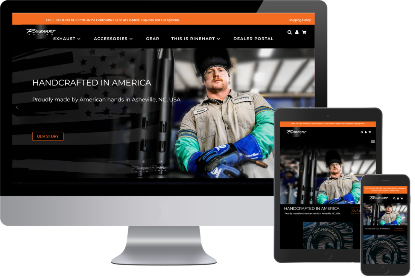 Rinehart Racing now has a Responsive Website Design after Greenstone Media made it for them