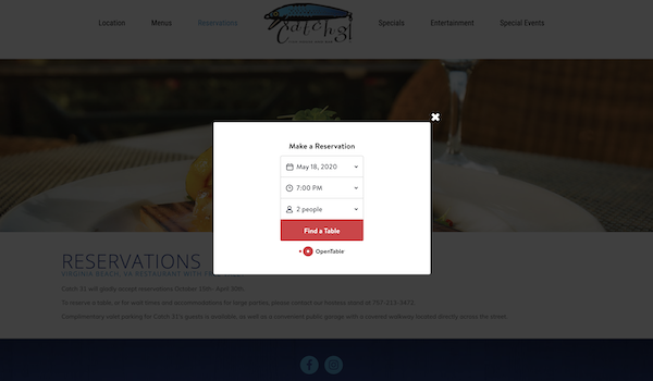 catch 31 reservations popup