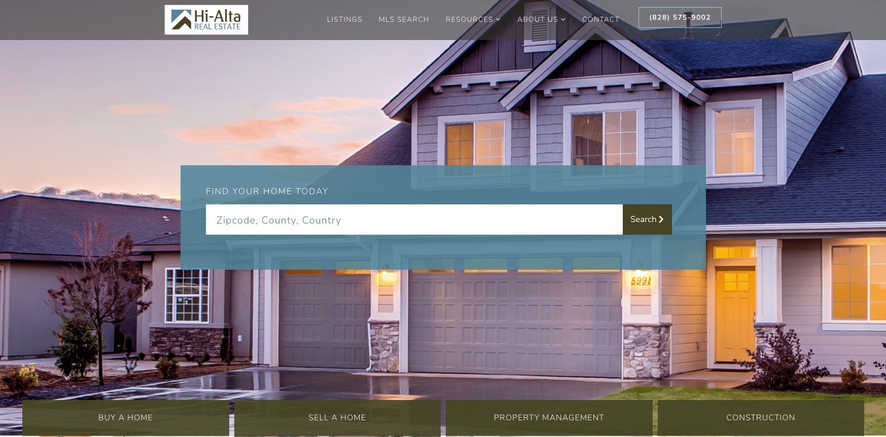 Hi-Alta Real Estate home page - After
